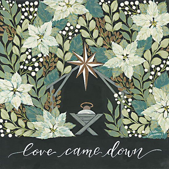 Michele Norman  MN289 - MN289 - Love Came Down - 12x12 Nativity, Baby Jesus, Christmas, Manger, Flowers, Religious, Poinsettias, Signs from Penny Lane