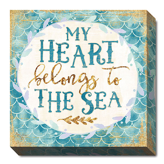 Mollie B. MOL1663 - My Heart Belongs to the Sea - Mermaid, Bath, Signs, Coastal, Whimsical from Penny Lane Publishing