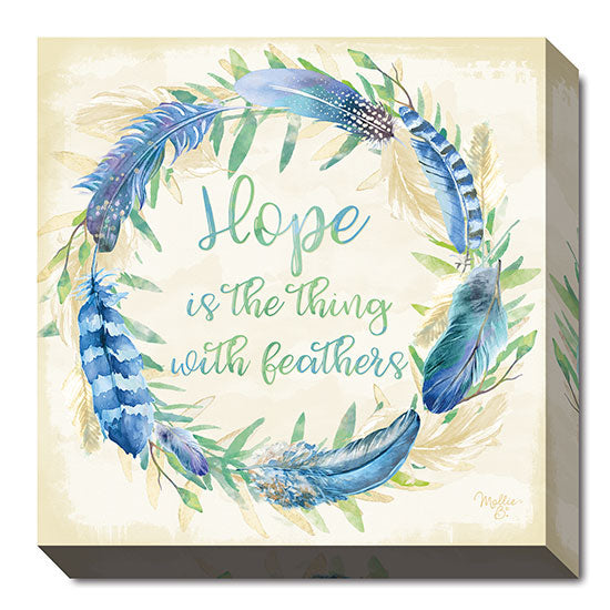 Mollie B. MOL1682 - Hope is the Thing with Feathers - Wreath, Leaves, Signs, Inspirational, Floral, Nature from Penny Lane Publishing
