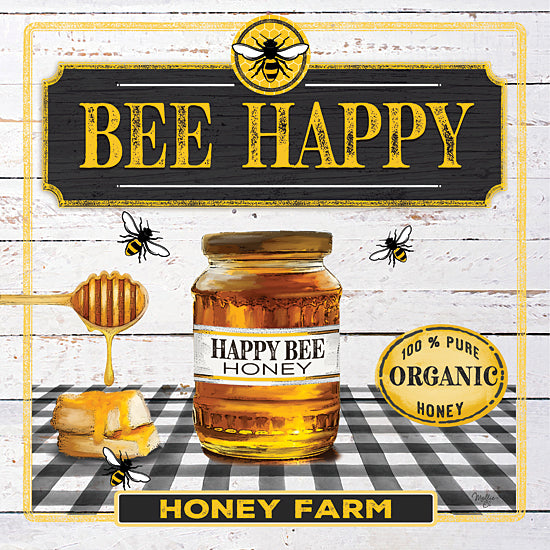 Mollie B. MOL2045 - MOL2045 - Honey - 12x12 Signs, Typography, Bee Happy, Honey, Plaid, Bees from Penny Lane