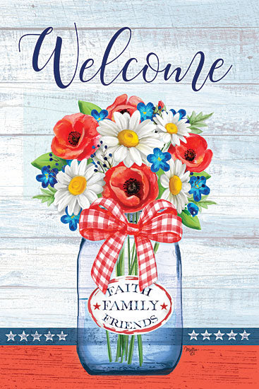 Mollie B. MOL2052 - MOL2052 - Patriotic Glass Jar - 12x18 Signs, Typography, Welcome, Patriotic Glass Jar, Flowers, Plaid Bow from Penny Lane
