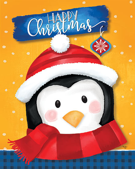 Mollie B. MOL2053 - MOL2053 - Happy Christmas Penguin - 12x16 Signs, Typography, Happy Christmas, Penguin, Santa Hat, Scarf from Penny Lane