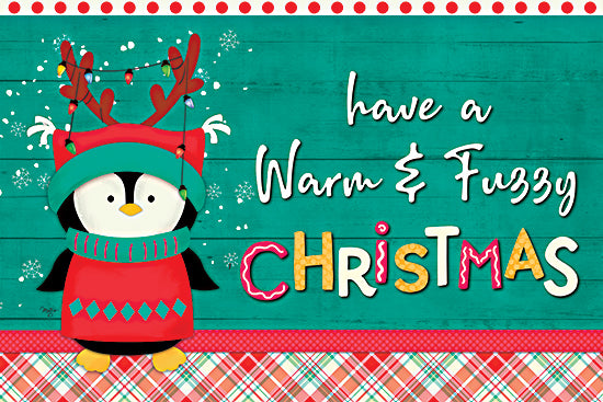 Mollie B. MOL2070 - MOL2070 - Have a Warm & Fuzzy Christmas - 18x12 Warm, Fuzzy, Christmas, Holidays, Penguin, Humorous, Plaid, Signs from Penny Lane