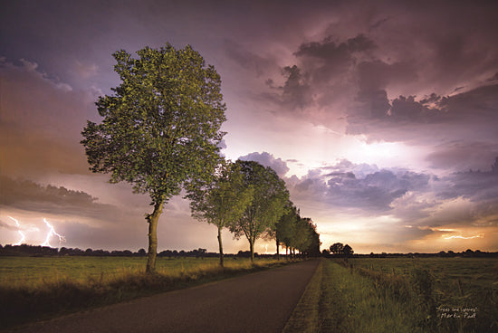 Martin Podt MPP220 - Trees and Lightning - Trees, Path, Clouds, Landscape, Nature, Photography from Penny Lane Publishing