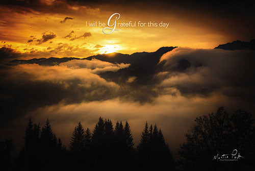 Martin Podt MPP342 - I Will be Grateful for This Day - Clouds, Mountains, Trees, Sunset, Grateful from Penny Lane Publishing