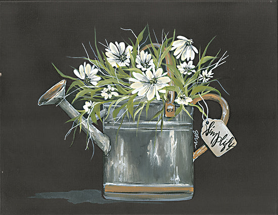 Julie Norkus NOR125 - NOR125 - Watering Can Daisy - 16x12 Watering Can, Flowers, White Flowers, Daisies, Simplify, Black Background from Penny Lane