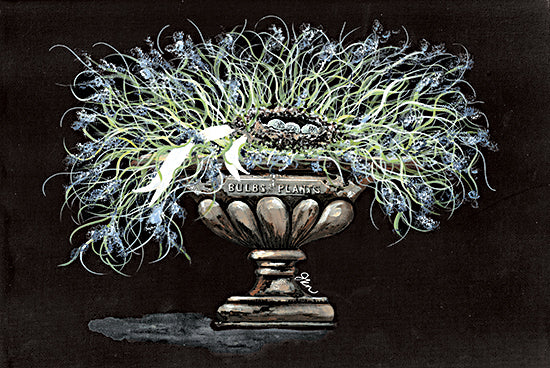 Julie Norkus NOR127 - NOR127 - Wispy Stone Urn - 16x12 Urn, Stone Urn, Flowers, Blue Flowers, Bird's Nest from Penny Lane