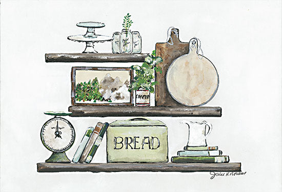 Julie Norkus NOR148 - NOR148 - Kitchen Wall Styling - 18x12 Kitchen, Shelves, Bread Box, Scales, Cutting Boards, Cookbooks, Kitchen Essentials from Penny Lane