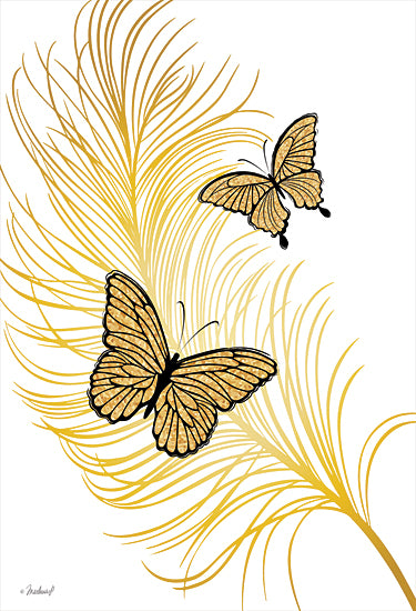 Martina Pavlova PAV394 - PAV394 - Gold Butterflies - 12x16 Butterflies, Gold Butterflies, Leaf from Penny Lane