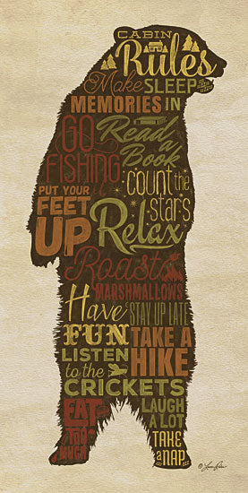 Lauren Rader RAD1088 - Cabin Rules - Bear, Cabin, Rules, Typography from Penny Lane Publishing