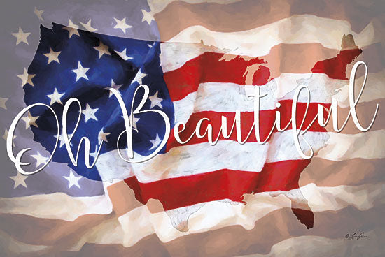 Lauren Rader RAD1093 - Oh Beautiful - America, Flag, Typography from Penny Lane Publishing