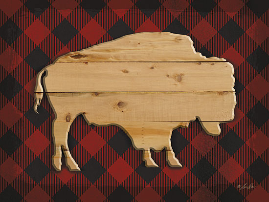 Lauren Rader RAD1100 - Wood and Plaid Buffalo - Wood, Buffalo, Plaid, Lodge from Penny Lane Publishing