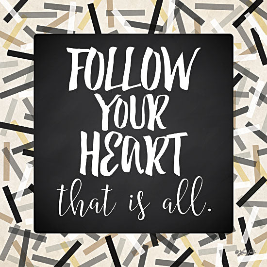 Lauren Rader RAD1159 - Follow Your Heart - Black, Gray, Gold, Signs, Inspirational, Tween, Typography from Penny Lane Publishing