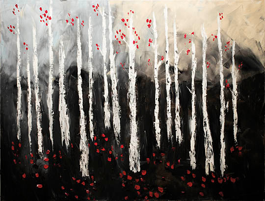 Roey Ebert REAR157 - Little Red Birch Forest - Abstract, Red, Tree, Birch, Landscape from Penny Lane Publishing
