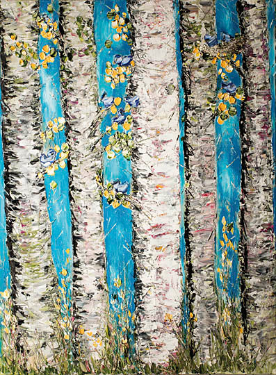 Roey Ebert REAR158 - Dance in the Moonlight - Abstract, Birch, Tree, Yellow, Floral from Penny Lane Publishing