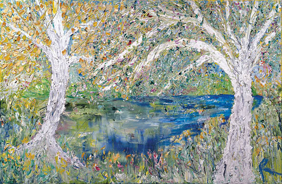 Roey Ebert REAR207 - The Pond with Cardinals - Trees, Pond, Abstract from Penny Lane Publishing