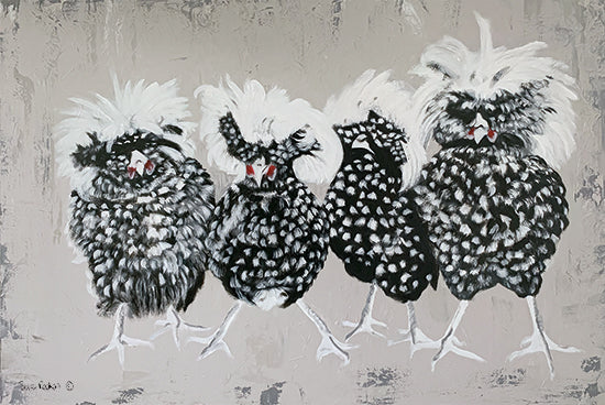 Suzi Redman RED135 - RED135 - Polish Chickens - 18x12 Chickens, Polish Chickens, Farm from Penny Lane