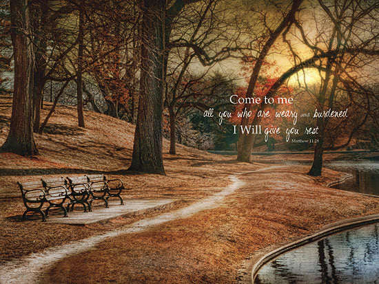 Robin-Lee Vieira RLV331A- I Will Give You Rest - Bible Verse, Park, Park Bench, Trees, Path from Penny Lane Publishing