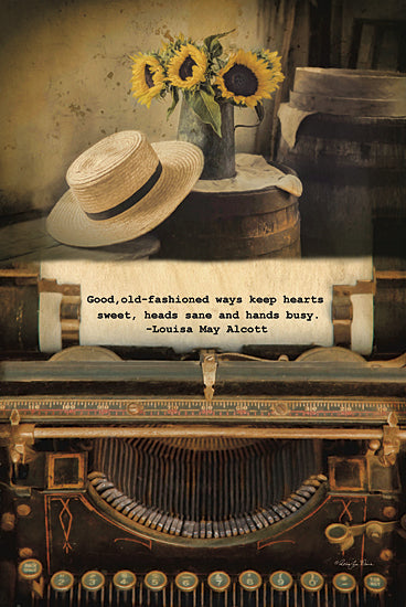 Robin-Lee Vieira RLV519 - Old-Fashioned Ways - Typewriter, Quote, Hat, Sunflowers, Still Life from Penny Lane Publishing