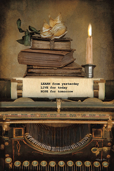 Robin-Lee Vieira RLV522 - Learn from Yesterday - Typewriter, Still Life, Inspirational, Candle, Books from Penny Lane Publishing