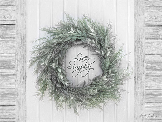 Robin-Lee Vieira RLV671 - Live Simply - Wreath, Inspirational, Signs, Greenery from Penny Lane Publishing