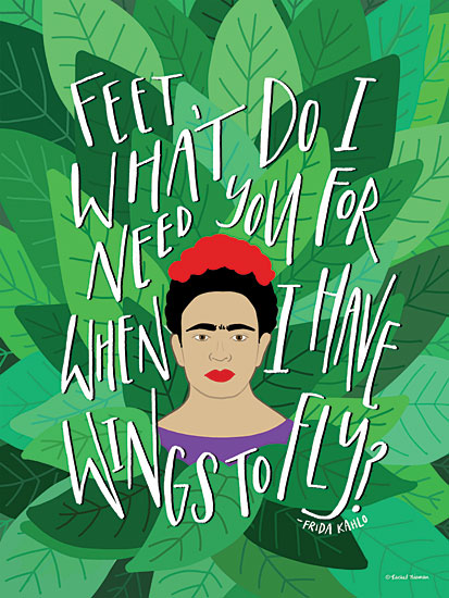 Rachel Nieman RN106 - RN106 - Frida - Wings to Fly - 12x16 Signs, Typography, Quotes, Frida Kahlo, Iconic, Leaves from Penny Lane