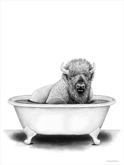 Rachel Nieman RN152 - RN152 - Bison in Tub - 16x12 Bison, Bathtub, Black & White from Penny Lane