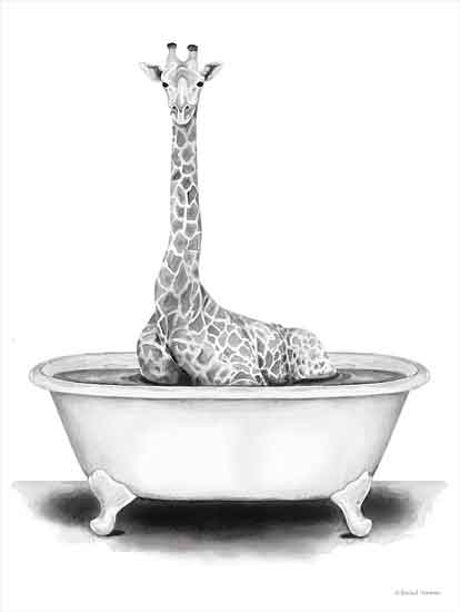 Rachel Nieman RN154 - RN154 - Giraffe in Tub - 16x12 Giraffe, Bathtub, Black & White from Penny Lane