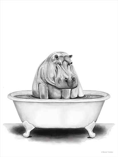Rachel Nieman RN155 - RN155 - Hippo in Tub - 16x12 Hippo, Bathtub, Black & White from Penny Lane