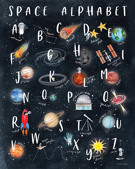 Rachel Nieman RN278 - RN278 - Space Alphabet - 12x16 Space Alphabet, Celestial, Learning, Children, Signs from Penny Lane