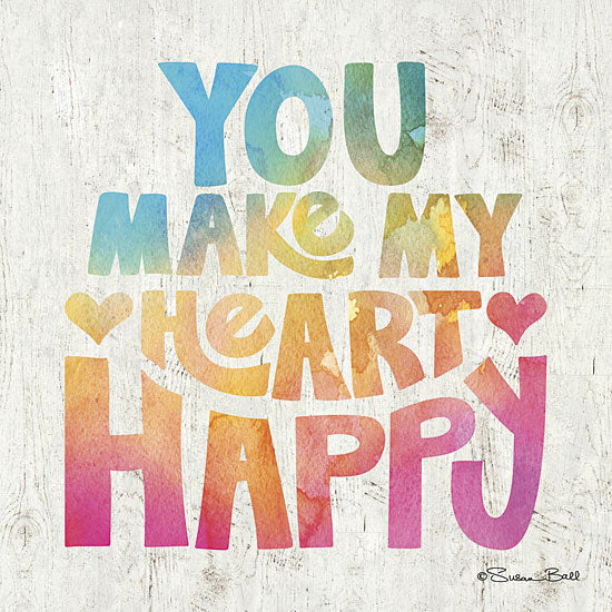Susan Ball SB364 - You Make My Heart Happy - Rainbow Colors, Heart, Happy, Typography from Penny Lane Publishing