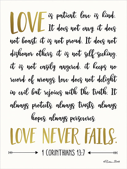 Susan Ball SB395 - Love is Patient - Black and Gold, Religious, Inspirational, Signs, Love from Penny Lane Publishing