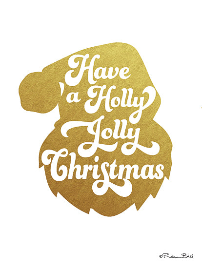 Susan Ball SB513 - Holly Jolly Christmas - Holiday, Santa, Gold, Typography from Penny Lane Publishing