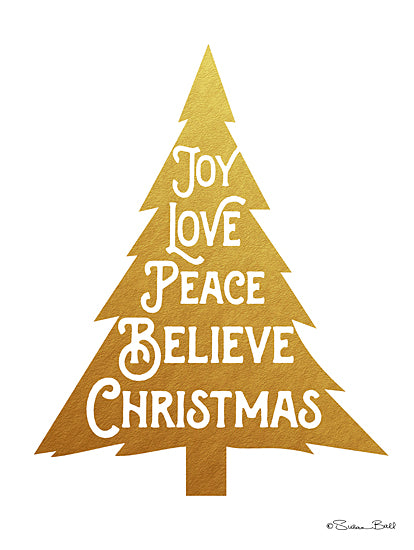 Susan Ball SB514 - Joy Christmas Tree - Holiday, Tree, Gold, Typography from Penny Lane Publishing