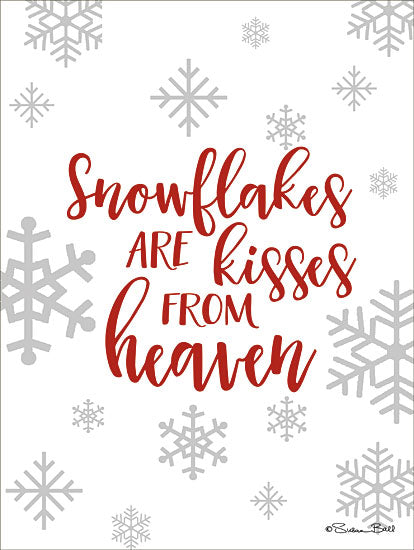Susan Ball SB649 - SB649 - Kisses from Heaven    - 12x16 Snowflakes are Kisses From Heaven, Winter, Red and White, Seasons from Penny Lane