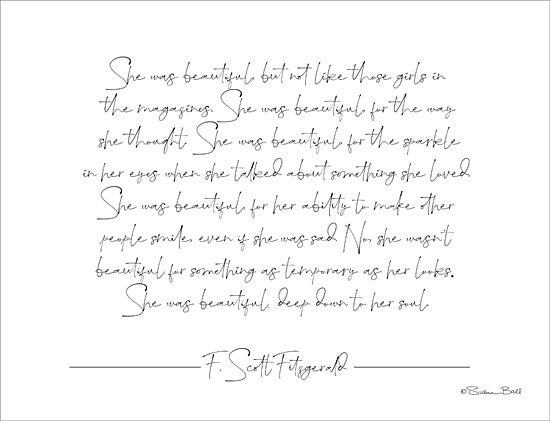 Susan Ball SB659 - SB659 - She was Beautiful - 16x12 Signs, Typography, Quotes, F. Scott Fitzgerald from Penny Lane