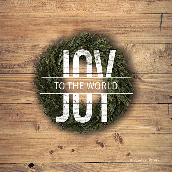 Susan Ball SB726 - SB726 - Joy to the World with Wreath - 12x12 Signs, Typography, Photography, Joy, Wreath, Wood Planks, Christmas from Penny Lane