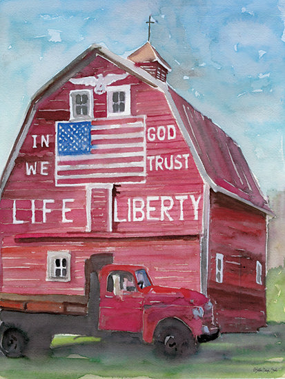 Stellar Design Studio SDS286 - SDS286 - Life & Liberty Barn - 12x16 In God We Trust, American Flag, Vintage Truck, Red Barn, Country from Penny Lane