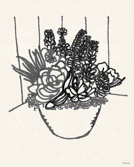 Stellar Design Studio SDS436 - SDS436 - Succulent Basket II - 12x16 Succulents, Basket, Black & White, Sketch from Penny Lane