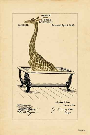 Stellar Design Studio SDS452 - SDS452 - Giraffe in Tub - 12x18 Signs, Typography, Giraffe, Bathtub from Penny Lane