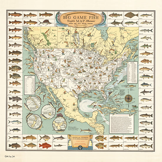 Stellar Design Studios SDS501 - SDS501 - Big Game Fish Map - 12x12 Map, Big Game, Fish, United States, North America from Penny Lane