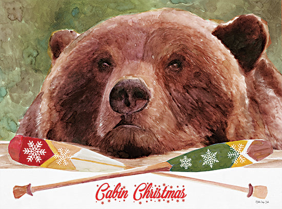 Stellar Design Studio SDS662 - SDS662 - Cabin Christmas - 18x12 Cabin Christmas, Lake, Lodge, Bear, Oars, Holidays, Christmas from Penny Lane