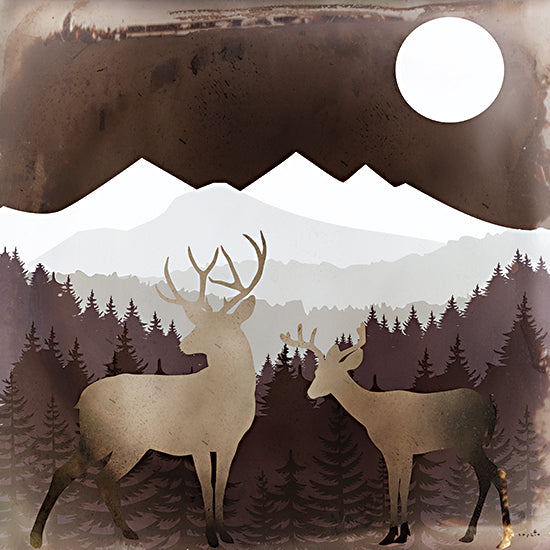 Sophie 6 SIX463 - SIX463 - American West - 12x12 Deer, Animals, Mountains, Moon, Pine Trees, Landscape, Sepia, Color Bakery from Penny Lane