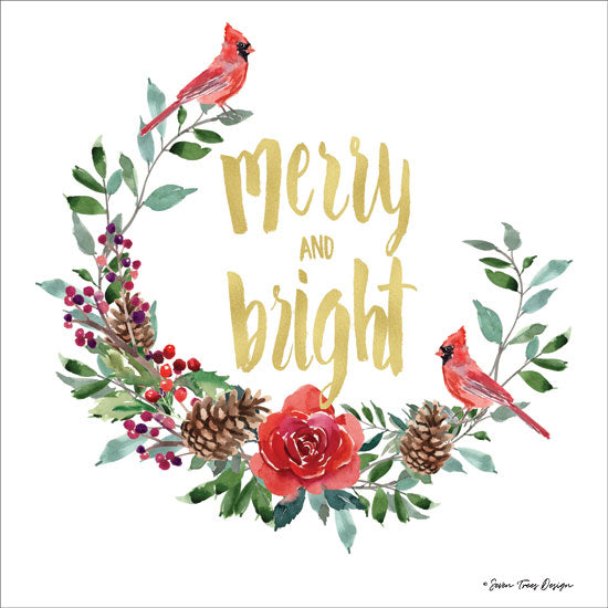 Seven Trees Design ST493 - ST493 - Merry and Bright Wreath with Cardinals  - 12x12 Signs, Typography, Cardinals, Roses, Pine Cones, Wreath, Christmas from Penny Lane