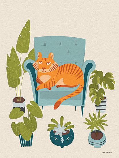 Seven Trees Design ST692 - ST692 - The Tiger of the City  - 12x16 Tiger, Plants, Chair from Penny Lane
