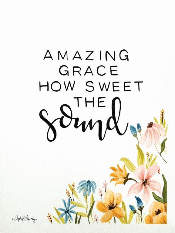April Chavez AC111 - AC111 - Amazing Grace  - 12x16 Amazing Grace, Signs, Typography, Songs, Flowers from Penny Lane
