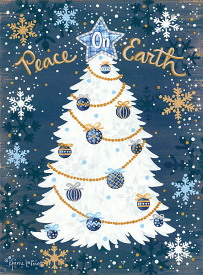 Annie LaPoint ALP1751 - Snowy Christmas Peace on Earth, Christmas Tree, Snowflakes, Holidays, Blue, Gold from Penny Lane