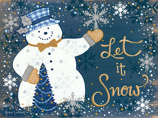 Annie LaPoint ALP1752 - Snowy Christmas Snowman Let It Snow, Snowman, Christmas Tree, Snow, Winter, Blue, Gold from Penny Lane