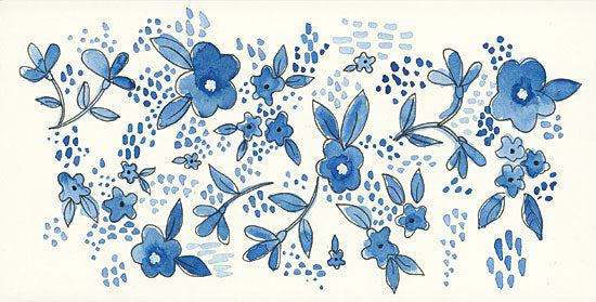 Annie LaPoint ALP1782 - Scattered Blue Flowers     Blue & White, Flowers from Penny Lane