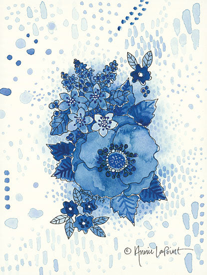 Annie LaPoint ALP1783 - Crazy Blue Flowers Blue & White, Flowers from Penny Lane